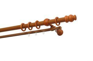 Карниз Уют 27.D20 деревянный, двухрядный, Вишня