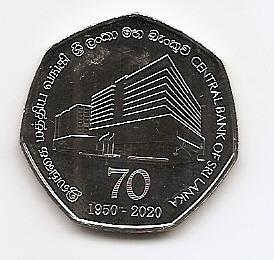 70 лет Центральному банку Шри-Ланка 20 рупий 2020г (2021)