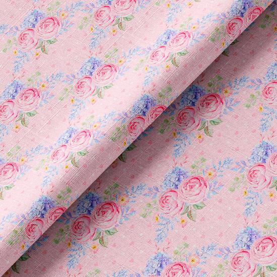 Хлопок розово-голубые розы на розовом 50х37