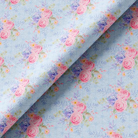 Хлопок розово-голубые розы на голубом 50х37