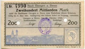 Германия. Нотгельд г. Гинген-на-Бренце 200.000.000.000 марок 1923