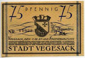 Германия. Нотгельд г. Вегезак 75 пфеннигов 1921