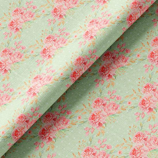 Хлопок розовые розы на зеленом 50х37