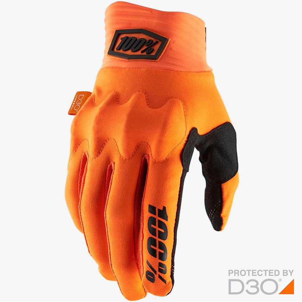 100% Cognito D3O Fluo Orange/Black перчатки для эндуро