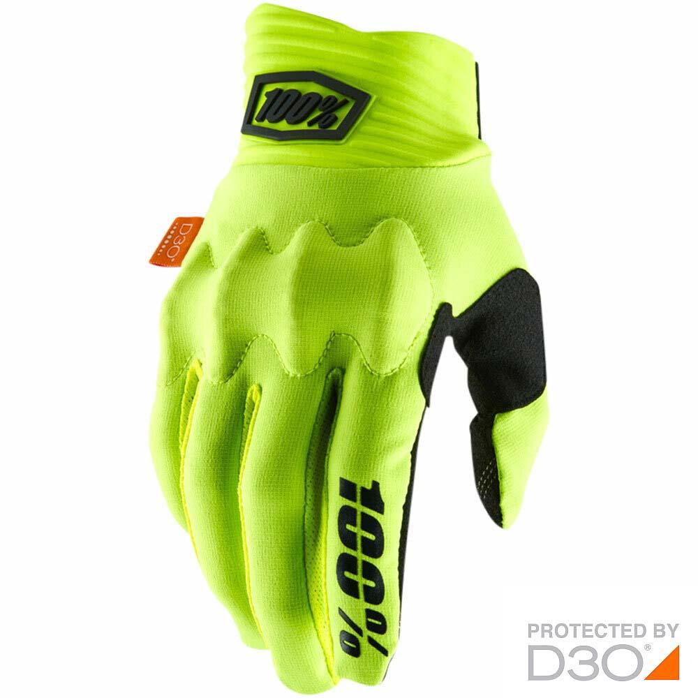 100% Cognito D3O Fluo Yellow/Black перчатки для эндуро