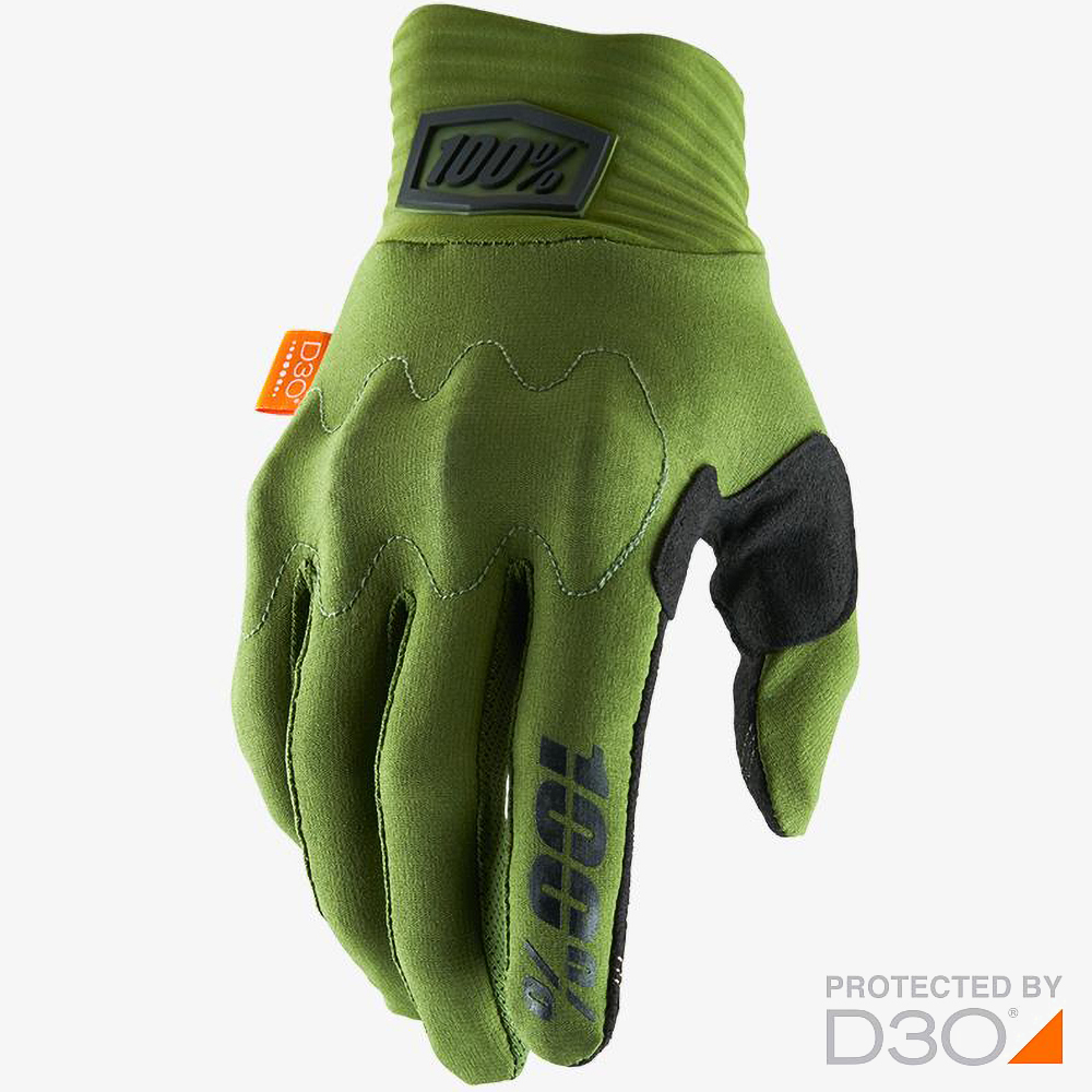 100% Cognito D3O Army Green/Black перчатки для эндуро