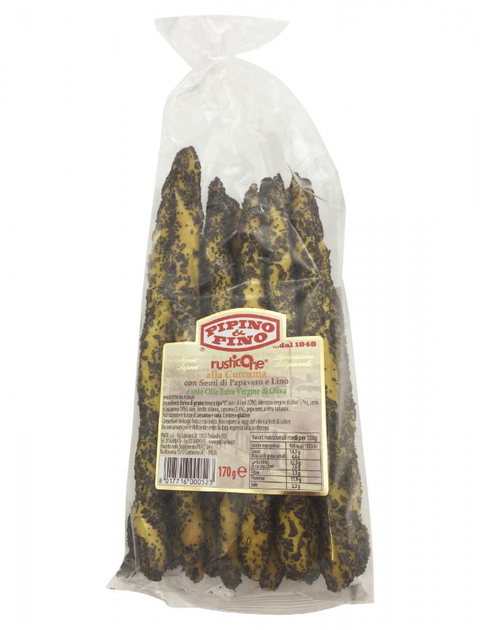 Гриссини с куркумой, маком и льняными семенами 170 г, Rusticone alla curcuma con semi di papavero e limo Prato 170 gr.