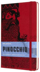 Книжка зап.Moleskine Large PINOCCHIO Mangiafuoco нелинованный красный/черный LEPIQP062D