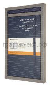 Набор Moleskine блокнот Classic Large линейка синий + ручка GO PEN BUNDVLGGOB20