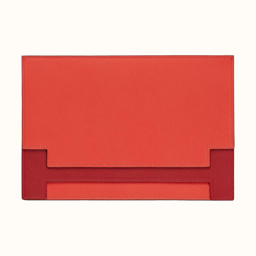 Клатч Multiplis Hermes clutch (Capucine/Rouge Casaque)