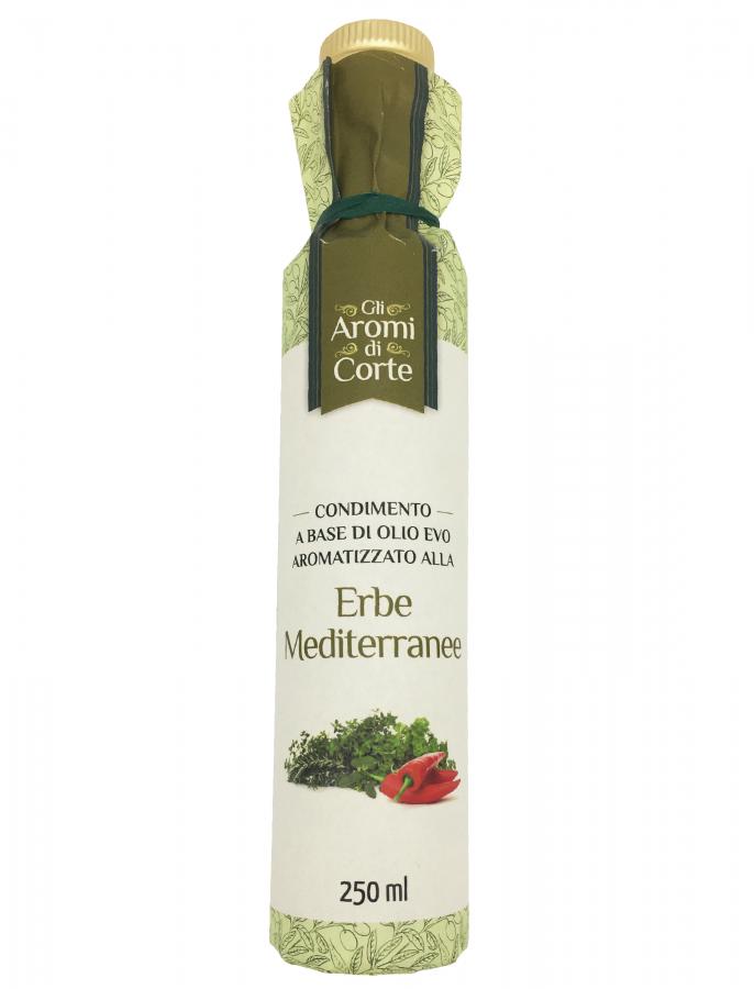 Масло оливковое с ароматом средиземноморских трав (дорическая) 250 мл, La Corte d'Italia. Bottiglia Dorica Erbe Mediterranee 250 ml, La Corte d'Italia