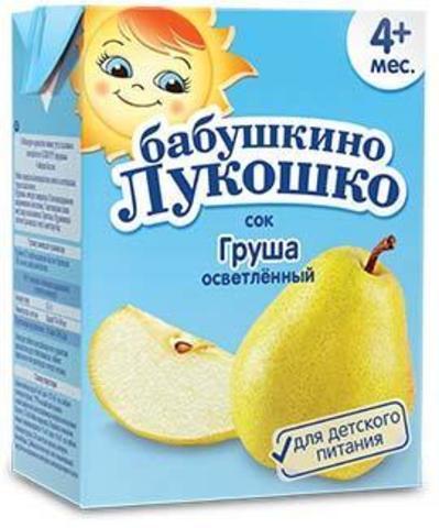 Сок Бабушкино Лукошко грушевый осветленный 200мл т/п
