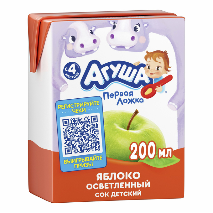 Сок Агуша 200 мл яблоко осветл. б/с фн