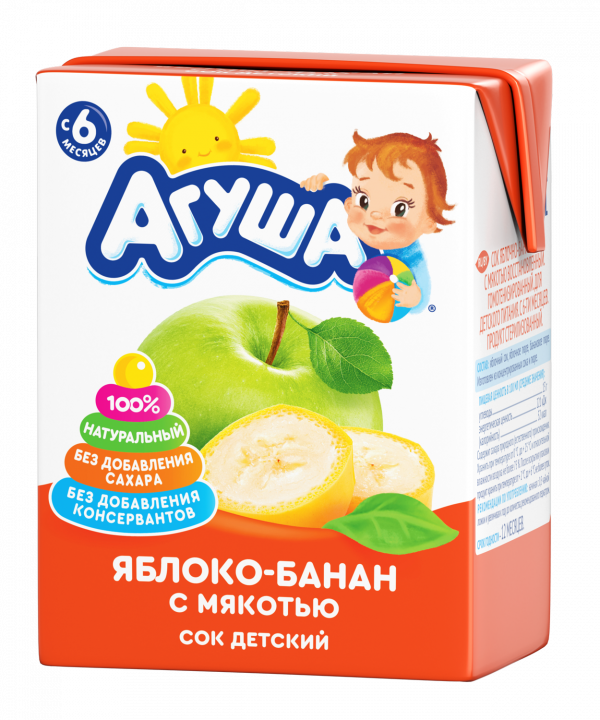 Сок Агуша 200 мл яблоко/банан с мяк. б/с