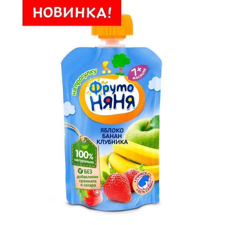 Десерт Фрутоняня 90г яблоко/банан/клубника д/п