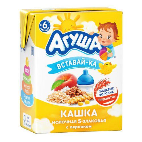 Каша Агуша Вставай-ка молочная 5-злак. с персиком 200мл т/п