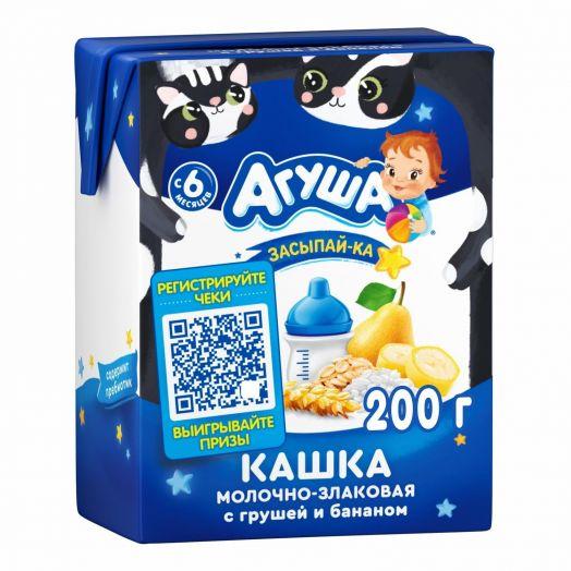 Каша Агуша молочно-злаковая груша/банан 200мл т/п