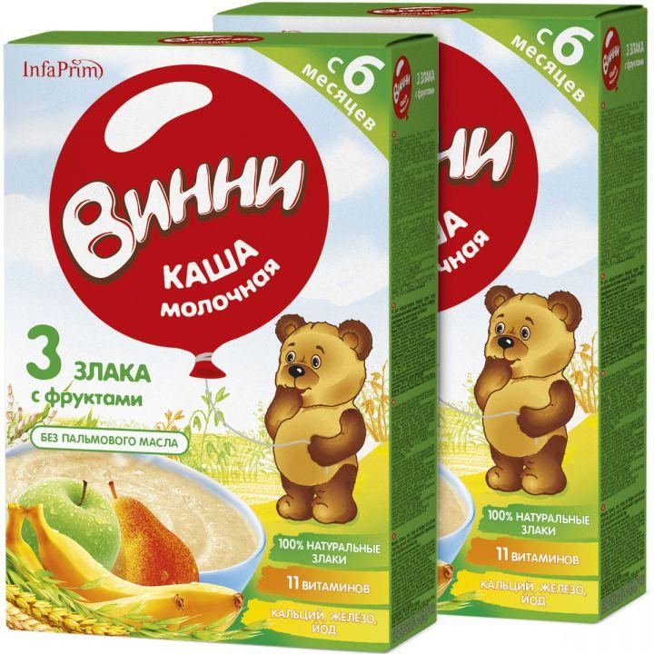 Каша Винни 200г сух.молоч. б/р из смеси 3 злаков с фруктами с 6 мес.