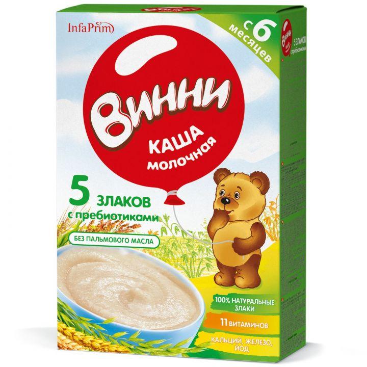 Каша Винни 200г Молочная 5 Злаков + пребиот, д/дет.с 6мес.