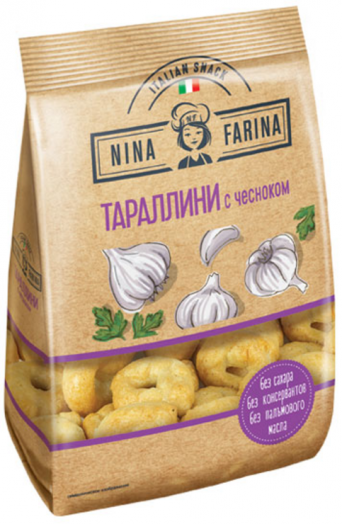Тараллини Nina Farina с чесноком 180г