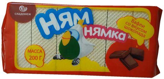 Вафли Ням-Нямка шоколад 200г Сладонеж