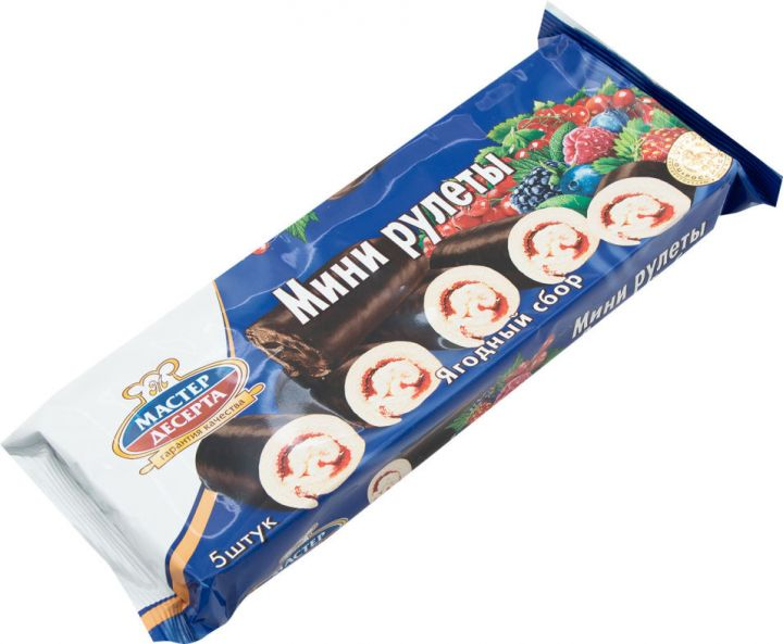 Мини-рулеты Мастер Десерта с начинкой ягодный сбор 175г