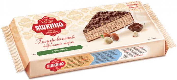 Торт Вафельный ореховый глазиров. 250г Яшкино