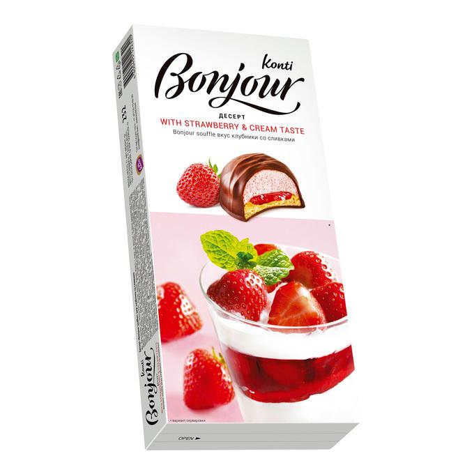 Десерт Бонжур Клубника со сливками 232г Конти