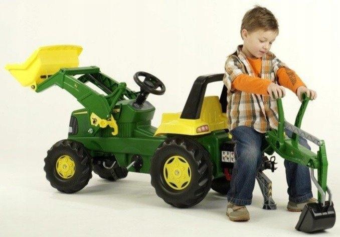 Педальный трактор Rolly Junior John Deere с двумя ковшами арт.811076