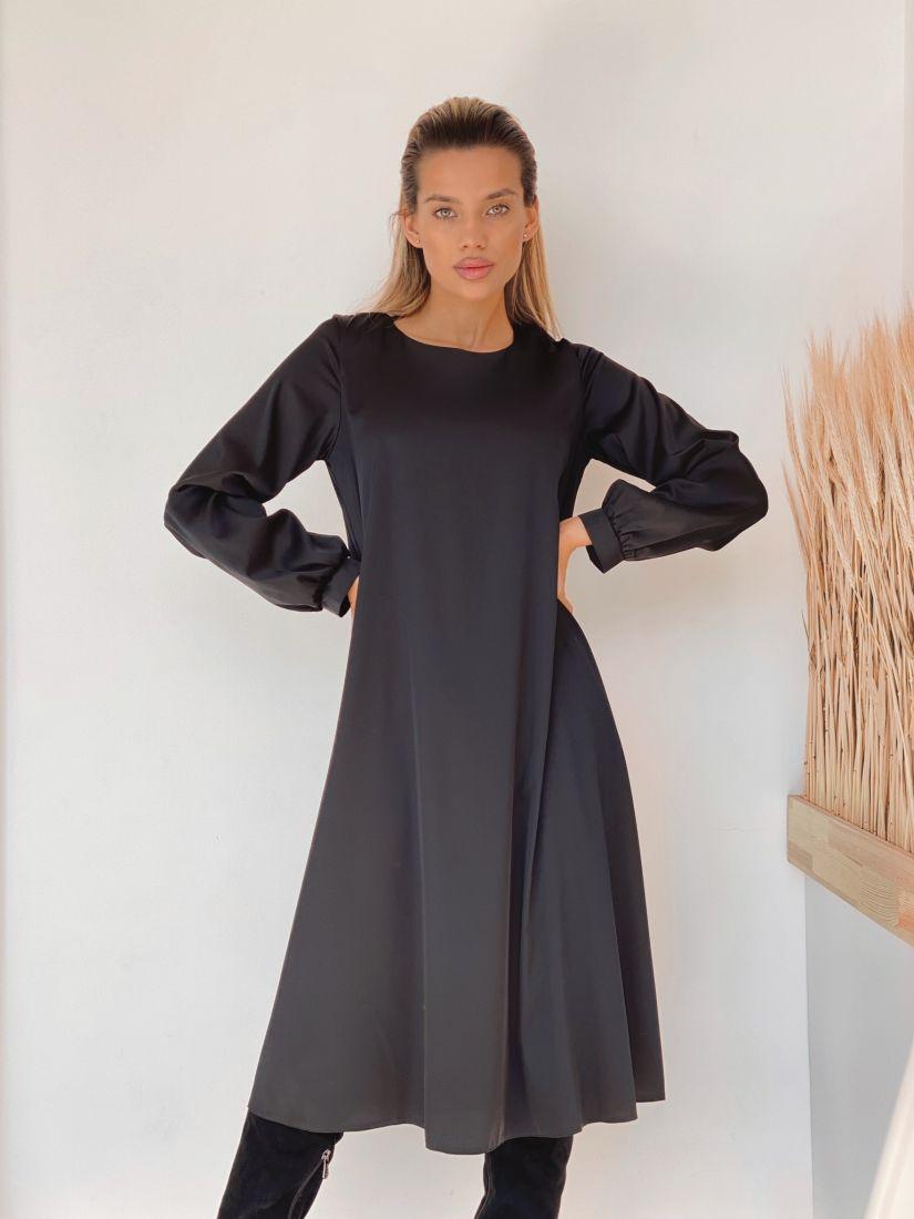 3229 Платье-трапеция с объёмными рукавами чёрное