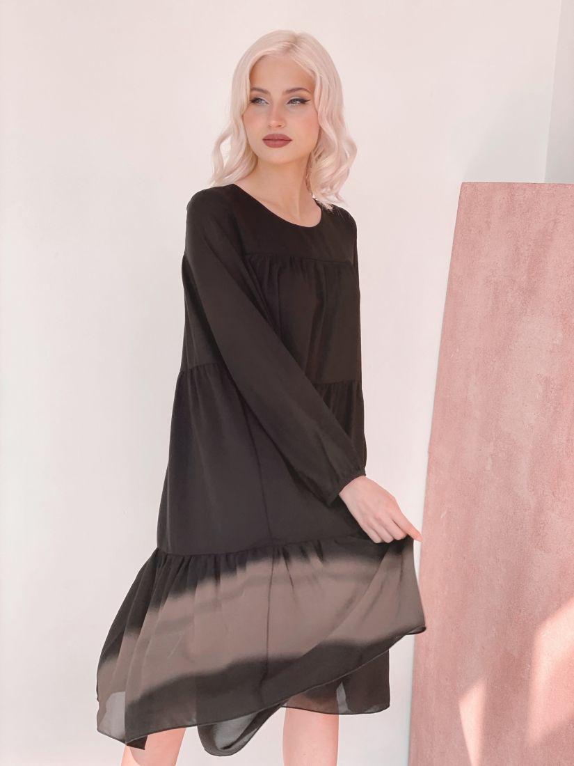 3454 Платье из микрошифона на подкладе многоярусное чёрное