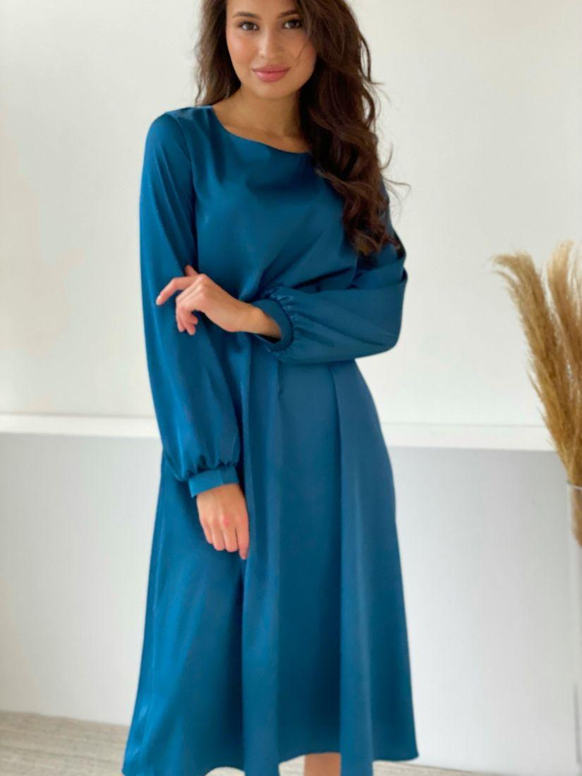 3230 Платье-трапеция из шёлка с объёмными рукавами в цвете морской волны