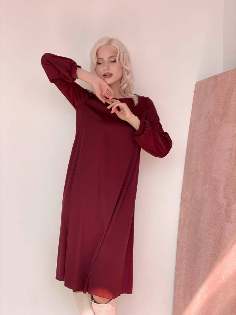 3223 Платье из шёлка бордовое с объёмными рукавами