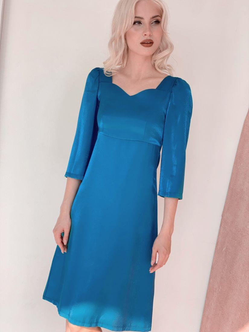 3244 Платье в ретро-стиле голубое
