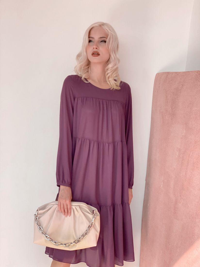 3498 Платье из микрошифона на подкладе многоярусное серо-лиловое