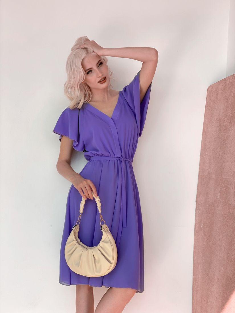4480 Платье из микрошифона на подкладе фиолетовое