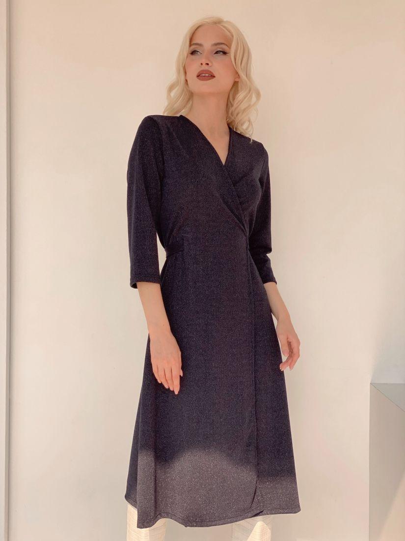 3222 Платье с запахом из мерцающего тёмно-синего трикотажа