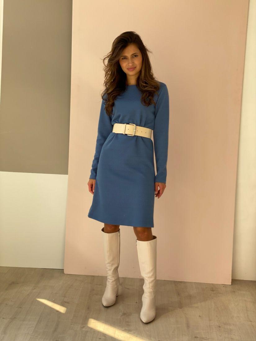 4485 Лаконичное голубое платье