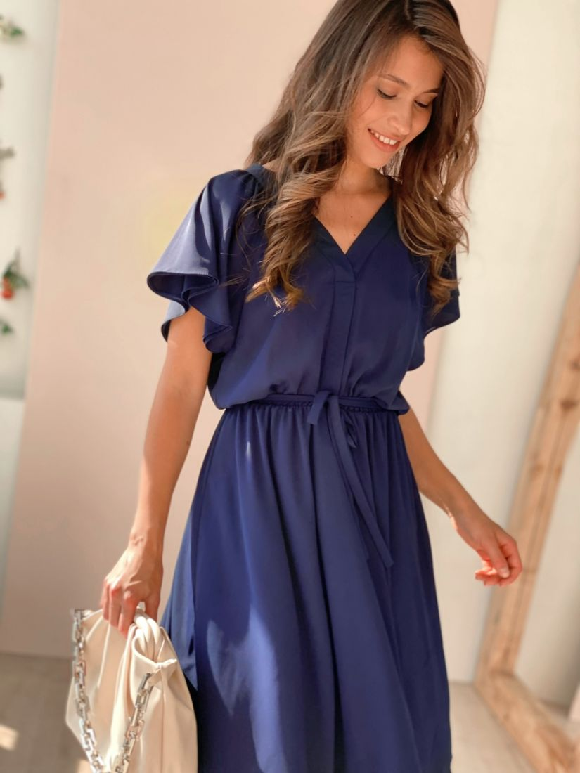 4494 Платье из микрошифона тёмно-синее