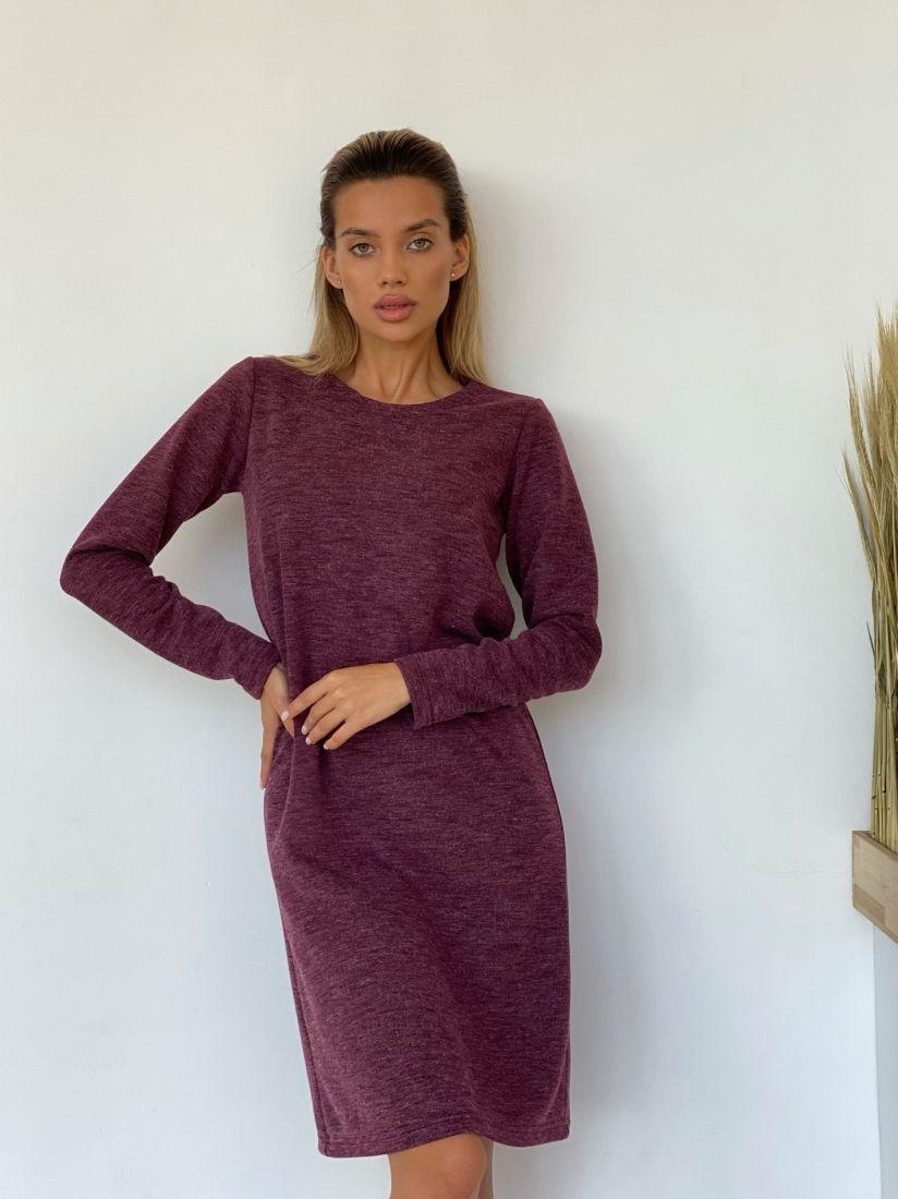 4497 Трикотажное платье в винном цвете