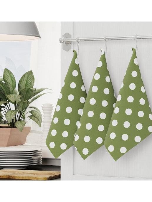 Кухонные полотенце, набор кухонных полотенец оливки 3 шт 45x70