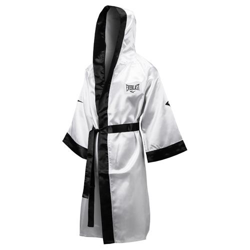 Халат боксёрский с капюшоном Everlast бел/чёр, размер 2XL. 4387H XXL WH/BK