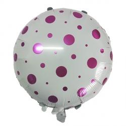 Кружочки конфетти цвета фуксии фольгированный шар (круг) с гелием
