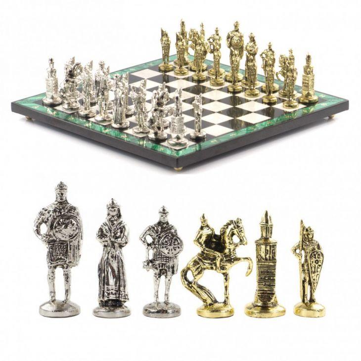 Шахматы Богатыри с металлическими фигурами камень малахит 40х40 см