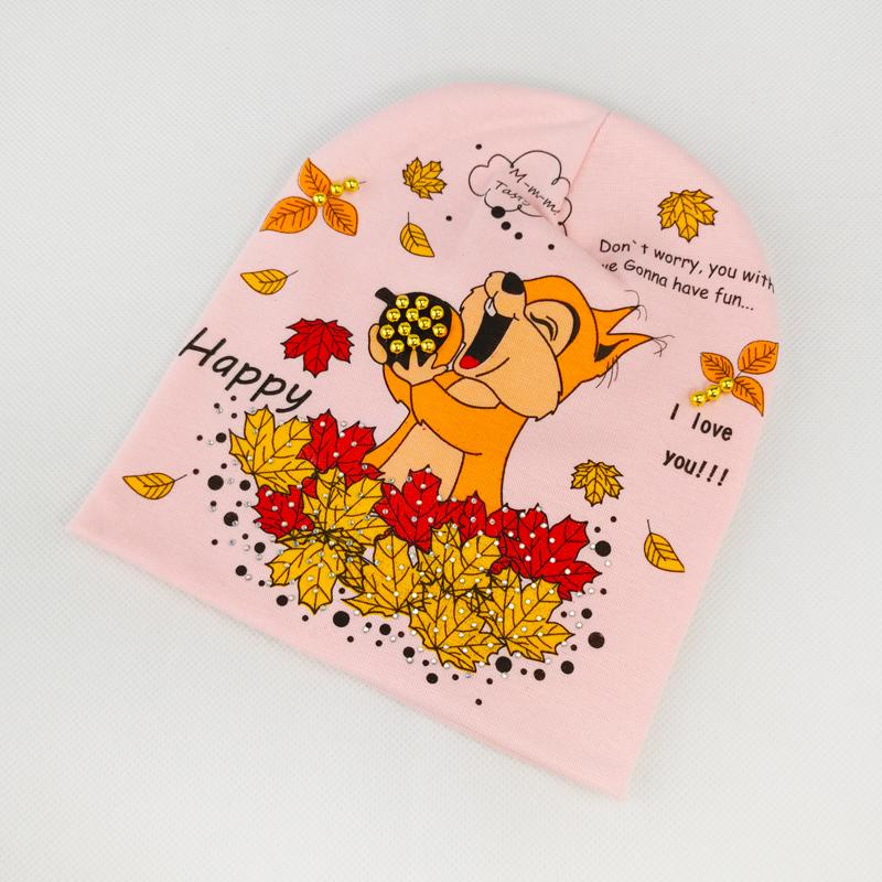 вд1633-42 Шапка трикотажная двойная Белочка персик