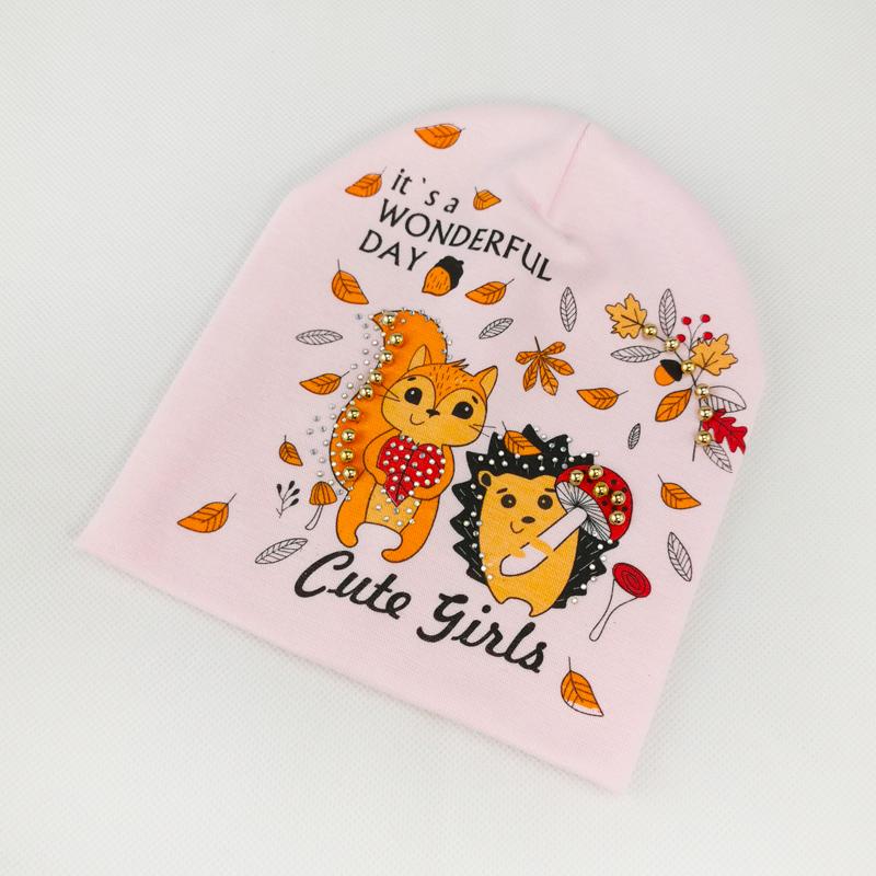 вд1634-36 Шапка трикотажная двойная Cute Girls нежно-розовая