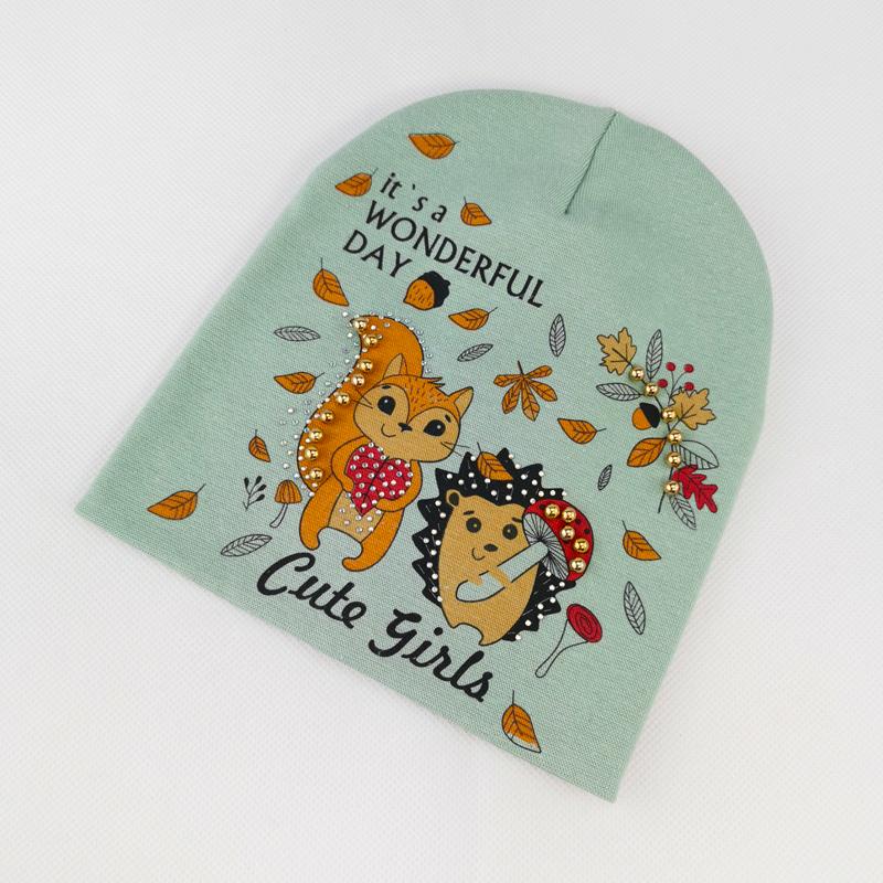 вд1634-54 Шапка трикотажная двойная Cute Girls оливка