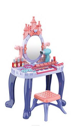 Детское трюмо туалетный столик сенсорный со стульчиком и пианино (661-136)