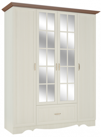Шкаф четырехдверный в спальню Латте 4