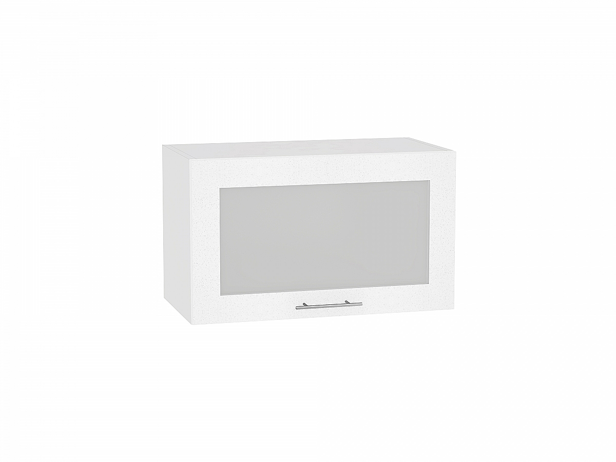 Шкаф верхний Валерия ВГ610 со стеклом (белый металлик)